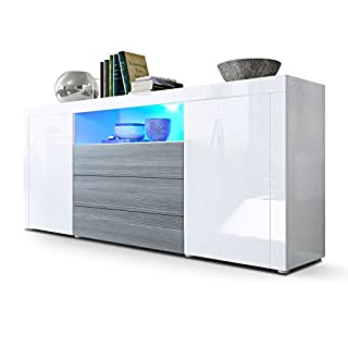 Vladon Sideboard Cabinet Santiago, Carcass in White High Gloss/Front in White High Gloss Avola-Anthracite LED lighting