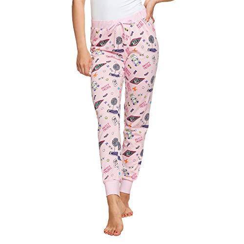 Harry Potter Damen Pyjama Hose Honey Dukes lang Elbenwald Baumwolle rosa - M Harry-potter-hose