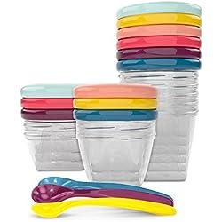 Babymoov Babybol Multi Set Lot de Pots de Conservation Hermétiques pour Bébé 3x 120ml 3x 180 ml 3x 250ml et 3 Cuillères Souples