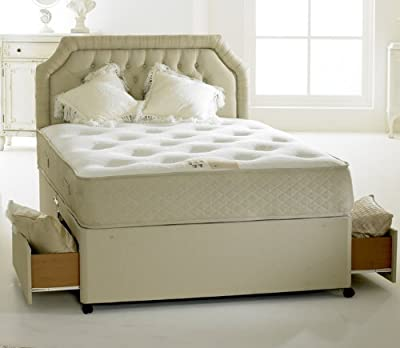 Happy Beds Divan Bed Set Clifton Royal 2 Drawers Pocket Sprung Orthopaedic Mattress 4'6'' Double 135 x 190 cm