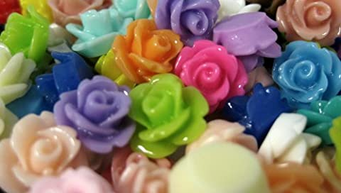 Resin Rose Cabochons in Assorted Colours 10mm x 20 pieces