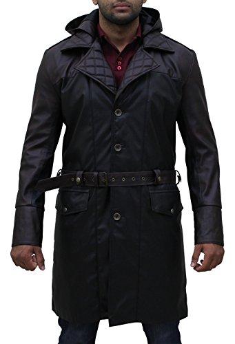 eGenius Herren Trenchcoat Jacke schwarz schwarz Gr. M, schwarz (Assassins Creed Leder Jacke)