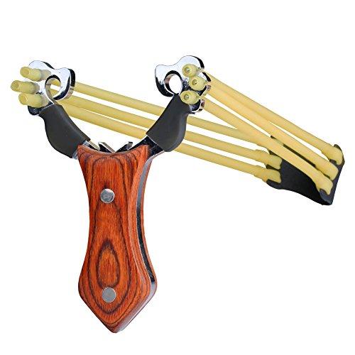 Slingshot Schleuder Zwille Steinschleuder Futterschleuder mit 3 Streifen Gummi Sportschleuder 100 Schleuder kugeln von VERY100