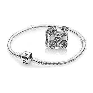 Cadeau original pandora - 1 bracelet et 1 argenté 590702HV 790346 en argent