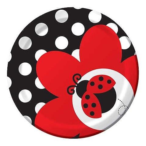 8-count rond papier Assiettes à dessert, Ladybug Fancy