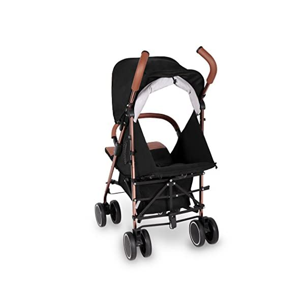 Ickle Bubba Baby Discovery Max Stroller| Lightweight Stroller Pushchair | Compact Fold Technology for Easy Transport and Storage | UPF 50+ Extendable Hood | Black/Rose Gold Ickle Bubba ONE-HANDED 3 POSITION SEAT RECLINE: Baby stroller suitable from 6 months to 22kg. 4 years old; features luxury soft quilted seat liner, footmuff, cupholder, and rain cover UPF 50+ RATED ADJUSTABLE HOOD: Includes a peekaboo window to keep an eye on the little one; extendable hood-UPF rated-to protect against the sun's harmful rays and inclement weather LIGHTWEIGHT DESIGN WITH COMPACT FOLD TECHNOLOGY: Easy to transport, aluminum frame is lightweight and portable-weighs only 7kg; folds compact for storage in small places; carry strap and leather shoulder pad included 6