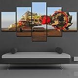 YANGSHUANG Leinwand Malerei von 5 Panels Wandkunst Große Engineering Fahrzeug Druckgrafik Auto Landschaft Bilder für Wohnzimmer Schlafzimmer Dekoration