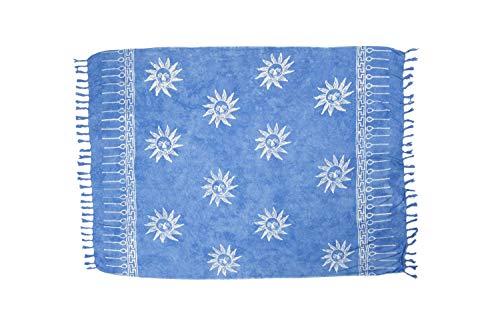 MANUMAR Mujer Pareo opaco, toalla de playa grandes Sarong en azul claro con motivo sol, XXL sobredimensionado 225x115cm, toalla vestido de verano, bikini vestido de playa