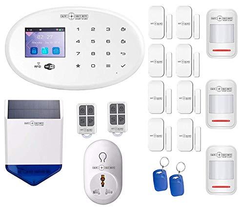 GSM Sistema de alarma WiFi con detector de movimiento para puertas y ventanas 1 sirena exterior 1 estación...