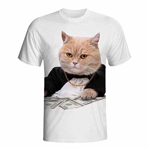 GreatestPAK T-Shirt 3D Animals Print Jungen Männer Herren Sommer Kurzarm T-Shirts Top T Bluse,Weiß,XXL