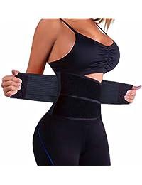 NOVECASA Sauna Camiseta Mujer Fitness/Entrenador de Cintura Neoprene/Corsé Transpirable Body Shaper con Cremallera para Peso Pérdida Deporte Entrenamiento (S, Cinturón de Entrenador)