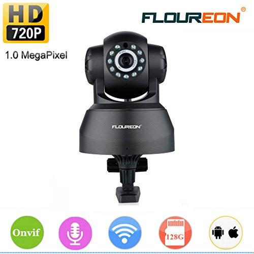 Floureon IP-Kamera, 1280 x 720p, HD, H.264, kabellos, kabellos, mit Zwei-Wege-Audio, Nachtsicht, Fernüberwachung unterstützt