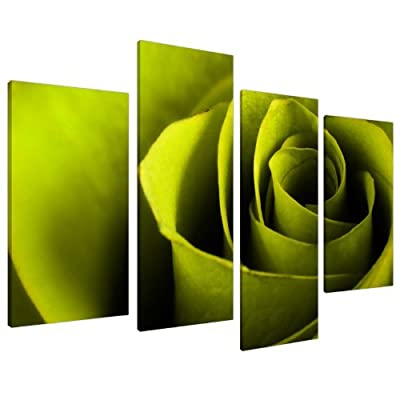 Large Lime Green Rose Floral Canvas Wall Art Pictures Prints XL 4110 produced by Wallfillers - quick delivery from UK.