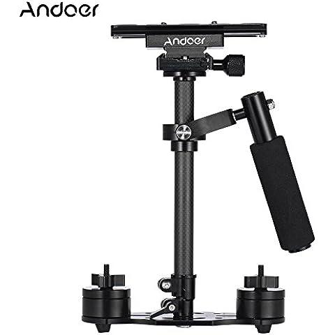 Andoer SY-JQ04 Professionale 40 cm Palmare Carbonio Fibra Stabilizzatore con Piastra a Sgancio Rapido e Morsetto di Base per Canon Nikon Sony DSLR Leggero Videocamere Carico 2kg