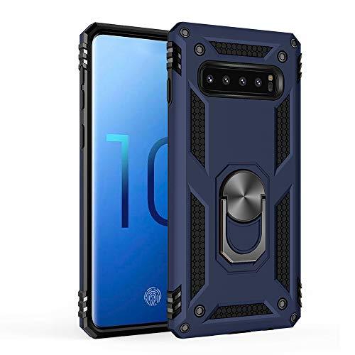 Kompatibel mit Samsung Galaxy S10 Hülle Hart Schutz Rüstung Handyhülle Magnetische Autohalterung Anti-Rutsch Schutz Anti-Fingerabdruck Hardcase für Samsung Galaxy S10 (Blau) (Rüstung Schutz)