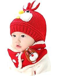 Bébé Ensemble de Bonnet Echarpe en Laine Tricotée Bonnet avec Cache-Oreille  d hiver Automne Chapeau Motif de Lapin Mignon Tour de Cou… 2c3199c9967