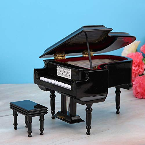 WDDqzf Ornaments Skulptur Figur Dekoration Statuen Miniatur Klavier Modell Replik Mit Koffer Puppenhaus Zubehör Mini Klavier Musikinstrument Ornamente Display, Weiß, M