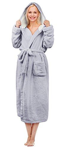 Tirrinia Luxus-Bademantel Soft-Plüsch-Bademantel Sherpa gefüttert Kapuzen-Robe für Frauen, Grau