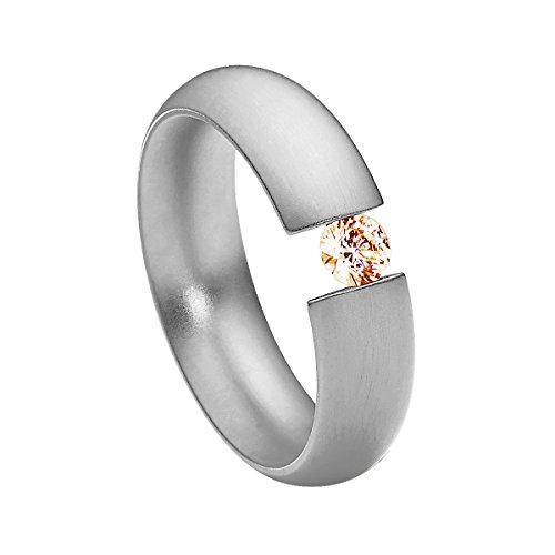 Heideman Ring Damen Intensio aus Edelstahl Silber farbend matt Damenring für Frauen mit Swarovski Stein Zirkonia braun im Brillant Schliff 4mm