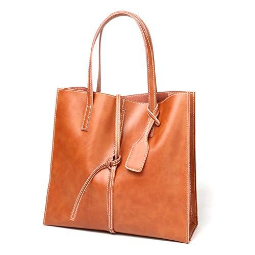Kieuyhqk Tragbare Ledertasche einfache und praktische Damen Big Bag Frauen Casual Handtasche Schulter-Handtasche (Farbe : Braun)