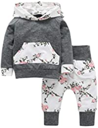 51a19bb1456 Iuhan 2pcs Toddler Infant Baby Boy Girl Clothes Set Floral Hoodie  Tops+Pants Outfits