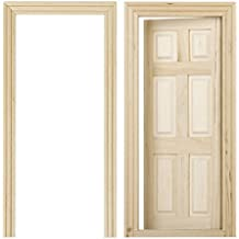 Puertas de madera de casa de munecas - SODIAL(R) 1/12 puertas de madera interiores de 6 paneles de color de madera en miniatura de casa de muneca de DIY