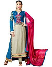 Shoppingover Embroidered Anarkli Suit in Blue & Cream Color with lace