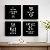 SAF Set of 4 Work Hard Beat Talent Motivational UV Coated Home Decorative Gift Item Framed Painting 19 inch X 19 inch…