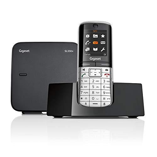 Gigaset SL350A Telefon - Schnurlostelefon / Mobilteil - mit Farbdisplay - Anrufbeantworter - Freisprechen / Design Telefon / Schnurloses Telefon - platin schwarz (Wand-schnurlos-telefon)