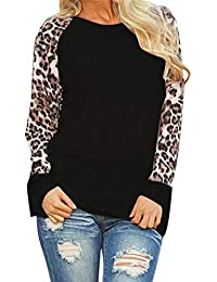 VJGOAL para Mujer Casual Personalidad de la Moda Leopard O-Cuello Blusa de Manga Larga