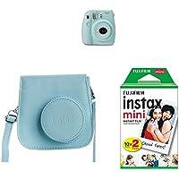 Fujifilm Instax Mini 9 - Kit Cámara instantánea + Funda, color Azul (Ice Blue)