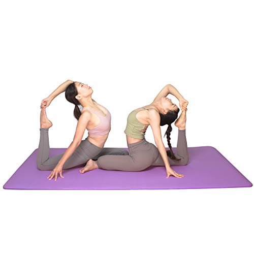 YUREN Doppelte Yogamatte Extra Breit 200 x 130 cm Gymnastikmatte Gros 15mm Ftness Matte Ubungsmatte Weich Dicke Yoga Matte XL - Lila