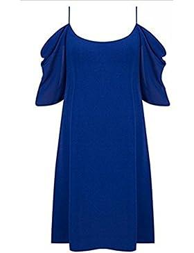 Hippolo donna rotonda manica corta chiffon mini party cocktail vestito da sera Blue M