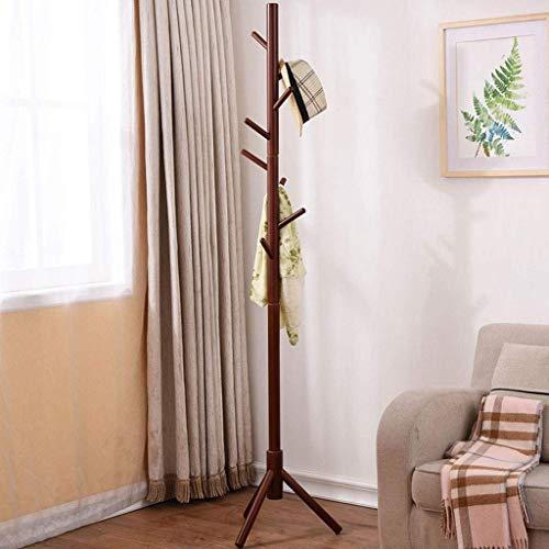 TQ Perchero De Madera Piso Dormitorio Simple Ropa Rack Sala De Estar Porche Solo Poste Percha (8 Ganchos),Black