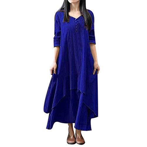 Qmber Kleider Damen Lange Kleid 1950er Vintage Brautjungfernkleid Petticoat Lange Ärmel Ballkleid...