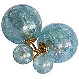 Modeschmuck Doppelperlen Ohrstecker Crackle Style Farbe Blau