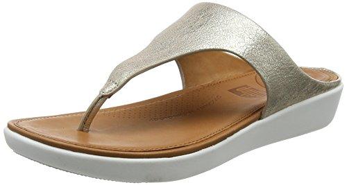 FitFlop Damen Banda II Toe-Thong METALLIC Peeptoe Sandalen, Silber Silver 527, 42 EU Metallic Thong Sandal