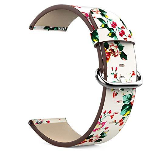 WAOTIER für Fitbit Versa Lite Armband Leder mit Bunte Blumen Musterband Armband für Fitbit Versa Lite Armband Damen mit Edelstahl Verschluss & 2 Schutzfolien Sommer Armband für Damen (Muster B)