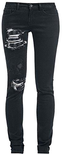 Black Premium by EMP Skull Patch Skarlett (Slim Fit) Jeans donna nero W30L34