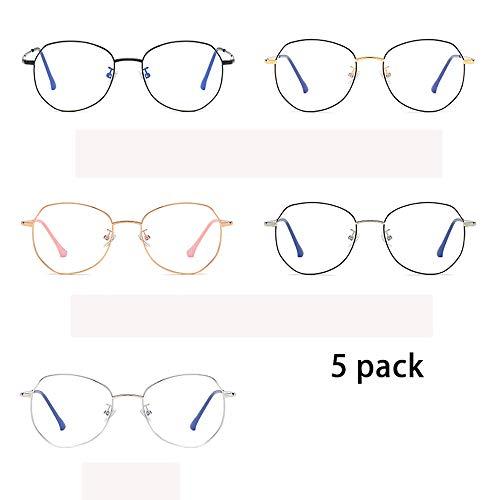 5 Pack Blue Light Blocking Brillen Damen Round Computer Brillen Anti Glare Eyestrain Kopfschmerzen, Anti Blue Light Brillen