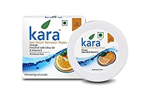 Kara Wipes Nail Polish Remover With Vitamin Removes Nail Polish, Orange (30 Pulls) x (Pack Of 4)