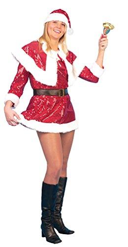 Pailletten Kostüm Santa Sexy Miss - Karneval-Klamotten Weihnachtsfrau Kostüm sexy Nikolaus-Kostüm Damen rot-weiß Pailletten Damenkostüm Kleid inkl. Gürtel, Cape + Weihnachtsmütze Größe 40/42