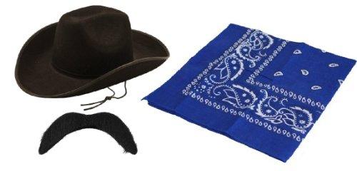 Sheriff 3 pezzi da Cowboy wild west Costume rodeo accessory Stetson-kit cappello, motivo: baffi, colore: nero, con bandana, colore: blu