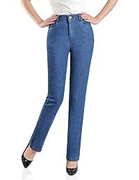 5f9122d627 Pantalones de Campana Floja de la Cintura Alta Vaqueros Vaqueros de Las  Mujeres Flojas Aumentar Mediana