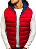 BOLF Herren Weste Steppweste mit Kapuze Taschen Outdoor Casual Style RED Fireball 1608 Rot XXL [4D4]
