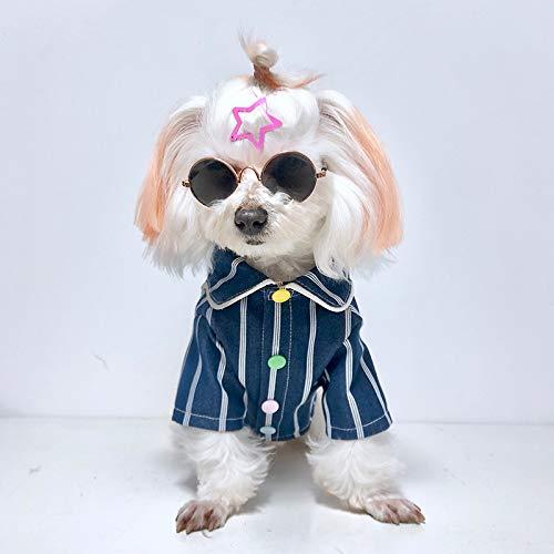JINQD 2 Stück Heimtierbedarf für Hundekleidung/Katzenkleidung (Akademie-Art populäres Sommer-Hundekühler-T-Shirt für Hund/Katzen-Jungen oder Mädchen) Sonnenbrille nach innen (Size : XS) - Für Akademie-kleidung Mädchen
