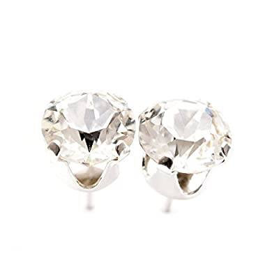 pewterhooter 925 Sterling Silver stud earrings expertly made with sparkling diamond white crystal from SWAROVSKI for Women