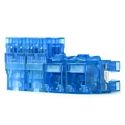 CAT5e RJ45 Transparent Unshielded Keystone Jacks Modul für Faceplate & Wandbox & Patch Panel 10pcs / pack (Blue) -