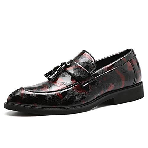 Yujingc Herren Spitze Fahrschuhe Plaid Camouflage Leder mit Niet Loafers Mokassins für Hochzeitsgeschäft Arbeit Utility Schuhe Größe 37-48,Rot,46 -