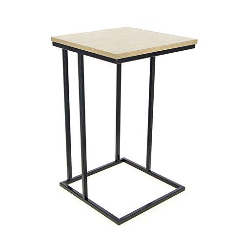 Mojawo Beistelltisch Couchtisch Eckig Säulentisch Nachttisch MDF Holz/Metall in Schwarz-Natur 38x38cm + H 60cm